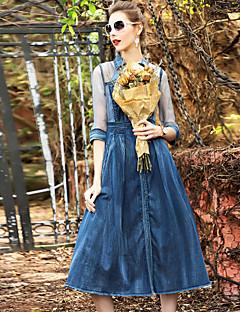 Χαμηλού Κόστους BLUEOXY-Γυναικεία Φαρδιά Φόρεμα - Μονόχρωμο Όρθιος Γιακάς