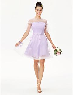 cheap Short Bridesmaid Dresses-Princess Jewel Neck Knee Length Lace Tulle Bridesmaid Dress with Pearl Detailing Sash / Ribbon Flower by LAN TING BRIDE®