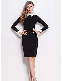 SHE'SWomen's Office/Career Sophisticated Bodycon DressSolid Color Block Peter Pan Collar Knee-length Long Sleeve Polyester Summer Mid Rise