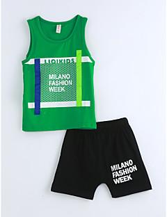 Χαμηλού Κόστους Ρούχα για Αγόρια-Αγορίστικα Σετ Ρούχων Βαμβάκι Γεωμετρικό Καλοκαίρι Αμάνικο Πράσινο του τριφυλλιού