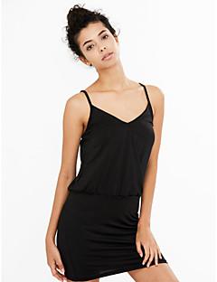 Sexy Bodycon Ensfarget Dress Kvinner Mini Med stropper Polyester
