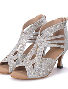 cheap -Women's Latin Shoes Sparkling Glitter Sandal / Heel Performance / Professional Rhinestone / Sparkling Glitter Flared Heel Customizable