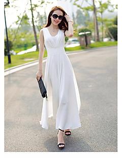 Kadın Dışarı Çıkma Sade A Şekilli Elbise Solid,Kolsuz V Yaka Maksi Polyester Yaz Normal Bel Mikro-Esnek Orta