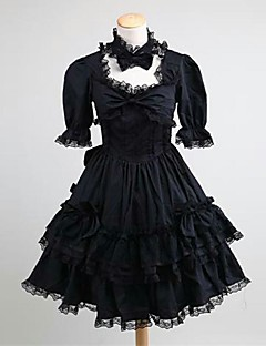 billiga Lolitaklänningar-Gotisk Lolita Klassisk/Traditionell Lolita Prinsessa Punk Spets Dam Tonåring Flickor Klänningar Cosplay Svart Kortärmad Knälång