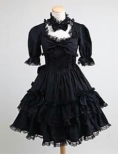cheap Lolita Dresses-Princess Gothic Lolita Dress Classic Lolita Dress Punk Lace Women's Girls' Dress Cosplay Black Ball Gown Short Sleeve Knee Length Plus Size Customized Costumes