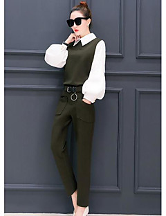 Women's Work Street chic Spring Shirt Pant Suits,Solid Shirt Collar Long Sleeve Cotton/nylon with a hint of stretch