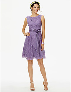 cheap Purple Passion-Princess Jewel Neck Knee Length Lace Bridesmaid Dress with Bow(s) Sashes / Ribbons by LAN TING BRIDE®