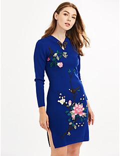 Χαμηλού Κόστους Chinoiserie Dresses-Γυναικείο Μεγάλα Μεγέθη Κινεζικό στυλ Θήκη Φόρεμα,Ζακάρ Μακρυμάνικο Στρογγυλή Λαιμόκοψη Πάνω από το Γόνατο Πολυεστέρας Φθινόπωρο Κανονική