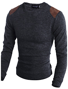 Men's Daily Long Pullover,Animal Print Round Neck Long Sleeves Cotton Winter Fall Medium Micro-elastic