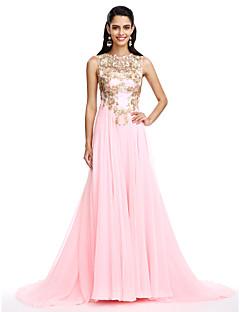 Γραμμή Α Με Κόσμημα Ουρά Σιφόν Επίσημο Βραδινό Φόρεμα με Διακοσμητικά Επιράμματα Πούλιες με TS Couture®