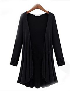 Women's Daily Plus Size Casual Cardigan,Solid Round Neck Long Sleeves Cotton Fall Thin Stretchy