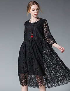 Women's Plus Size Going out Casual/Daily Sexy Simple Cute Loose Shift Dress,Solid Round Neck Knee-length ½ Length Sleeve Polyester Lace