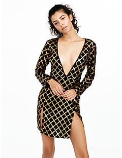 Kroppstett Kjole Kjole Klubb Sexy Dame,Stripet Dyp V Mini Langermet Sort Polyester Spandex Høst Høyt liv Mikroelastisk Medium