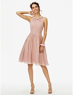 billige Romantisk rosa-A-linje Besmykket Knelang Chiffon Brudepikekjole med Belte / bånd Plissert av LAN TING BRIDE®