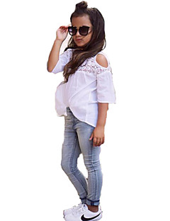 Girls' Fashion Lace SetsDenim Long Pants Summer Lace Sleeve Baby Kids Clothing Set