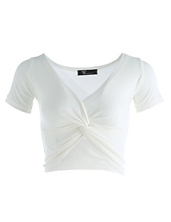 Naiset Lyhythihainen Ohut V kaula-aukko Puuvilla Kevät Kesä Seksikäs Päivittäin Kausaliteetti Bile T-paita,Yhtenäinen