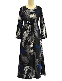 Χαμηλού Κόστους SWEET CURVE-Γυναικεία Μεγάλα Μεγέθη Μπόχο Swing Φόρεμα Πλισέ Στάμπα Μακρύ Ψηλοκάβαλο