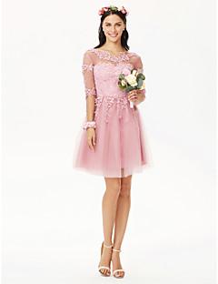 billige Romantisk rosa-A-linje Besmykket Knelang Tyll Blomsterblonder Brudepikekjole med Appliqué Plissert av LAN TING BRIDE®