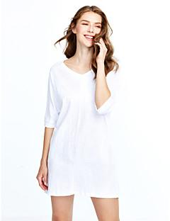 Γυναικείο Εξόδου Απλό Φαρδιά Φόρεμα,Μονόχρωμο Κοντομάνικο Στρογγυλή Λαιμόκοψη Πάνω από το Γόνατο Νάιλον Άνοιξη Καλοκαίρι Κανονική Μέση