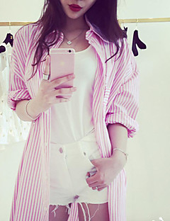 Women's Casual/Daily Simple Spring Summer Shirt,Striped Shirt Collar Long Sleeve Others Thin
