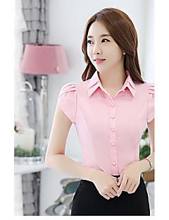 Damen Gestreift Einfach Arbeit Hemd,Hemdkragen Kurzarm Spezielle Lederarten