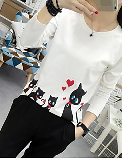 Women's Going out Casual/Daily Simple Summer Fall T-shirt,Solid Print Round Neck Long Sleeve Cotton Opaque Medium