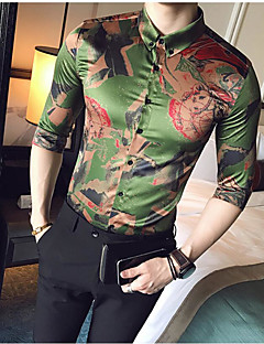 Men's Casual/Daily Simple Spring Fall Shirt,Print Button Down Collar Long Sleeves Silk Thin