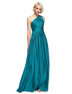 tanie Królewski błękit-Krój A Na jedno ramię Sięgająca podłoża Szyfon satynowy Sukienka dla druhny z Drapowania boczna przez LAN TING BRIDE®