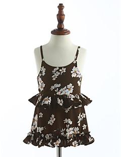 preiswerte Kinderkleidung-Mädchen Kleid Gitter Baumwolle Sommer Ärmellos Blumig Grün