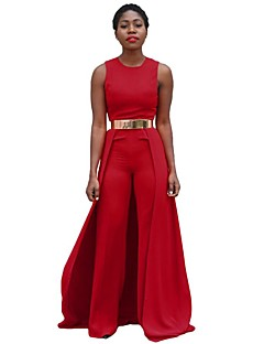 Women's Sleeveless Personalized Cape Overalls Red Jumpsuit Romper Long Pants