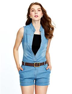 婦人向け ヴィンテージ ポリエステル ジャンプスーツ,マイクロエラスティック 薄手 ノースリーブ
