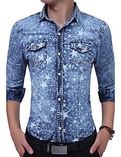 billige Herremote og klær-Bomull Denimstoff Skjorte - Galakse Jacquardvevnad Stjerner, Moderne Stil Elegant Jacquard Punk & Gotisk Bohem Herre