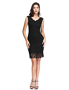 billiga Cocktailklänningar-Åtsmitande V-hals Kort / mini Spets Den lilla svarta Cocktailfest / Bal Klänning med Spets av TS Couture®