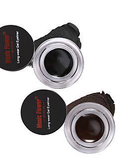 Music Flower Brand Eye Makeup 2 in 1 Brown  Black Gel Eyeliner Make Up Water-proof Smudge-proof Set Eye Liner Kit With Brushes