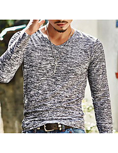 Men's Going out Casual/Daily Simple Spring Fall T-shirt,Print V Neck Long Sleeves Cotton