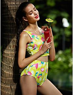 Dame Bikinikjole Blomstret Sport Retro,Polyester Bandeau Blomstret