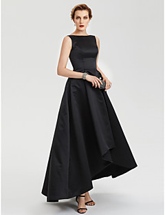 billiga Aftonklänningar-A-linje Båthals Asymmetrisk Satäng Återföreningsfest / Bal Klänning med Plisserat av TS Couture® / Kort och lång