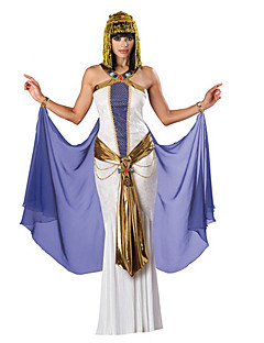 billige Halloweenkostymer-Egyptiske Kostymer Queen Cleopatra Cosplay Kostumer Party-kostyme Maskerade Dame Halloween Karneval Festival / høytid Halloween-kostymer Drakter Hvit Vintage Det gamle Egypt