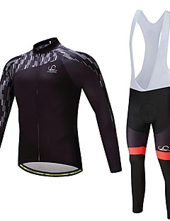 abordables -Maillot et Cuissard Long à Bretelles de Cyclisme Unisexe Manches Longues Vélo Ensemble de Vêtements Ventilation Séchage rapide Polyester