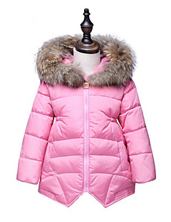 Girls' Solid Color Fashion Down & Cotton Padded,Cotton Raccoon Fur Winter Long Sleeve White Black Red Blushing Pink Purple