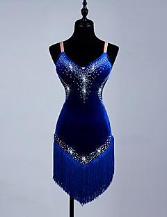 ラテンダンス ワンピース 女性用 ダンスパフォーマンス スパンデックス オーガンザ 1個 ノースリーブ ドレス