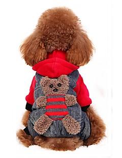 billiga Hundkläder-Hund Dräkter/Kostymer Kappor Huvtröjor Byxor Hundkläder Björn Gul Röd Flanelltyg Cotton Kostym För husdjur Herr Dam Fest Cosplay Mode
