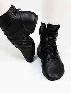 Χαμηλού Κόστους -Γυναικεία Παπούτσια τζαζ Δερμάτινο Χωρίς Τακούνι / Μπότες Επίπεδο Τακούνι Εξατομικευμένο Παπούτσια Χορού Μαύρο / Εξάσκηση