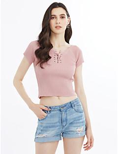 cheap Women's Tops-Women's T-shirt - Solid Deep U
