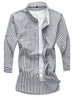 Bomull Akryl Medium 3/4 ermer,Skjortekrage Skjorte Stripet Sommer Høst Vintage Gatemote Kontor & Karriere Daglig Avslappet Herre