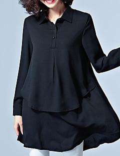 Annet Medium Langermet,Skjortekrage Skjorte Ensfarget Vår Sommer Vintage Enkel Gatemote Fritid/hverdag Arbeid Plusstørrelser Dame
