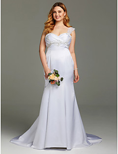 cheap Plus Size Wedding Dresses-Mermaid / Trumpet Straps Court Train Satin Custom Wedding Dresses with Beading Appliques Ruched Criss Cross by LAN TING BRIDE®