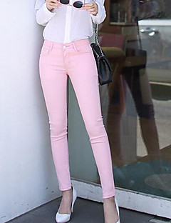 Women's Mid Rise Micro-elastic Skinny Pants,Simple Skinny Solid
