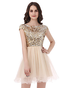 Princess Scoop Neck Short / Mini Tulle Sequined Engagement Party Cocktail Party Dress with Sequins by Sarahbridal