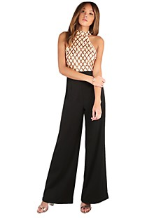 Women's Sexy Street chic High Rise Casual/Daily Wide Leg Sequins Color Block Patchwork Summer Jumpsuits